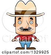 Clipart Of A Cartoon Happy Block Headed Hispanic Cowboy Man With A Mustache Royalty Free Vector Illustration by Cory Thoman