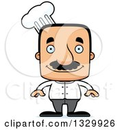 Clipart Of A Cartoon Happy Block Headed Hispanic Chef Man With A Mustache Royalty Free Vector Illustration