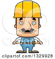 Clipart Of A Cartoon Happy Block Headed Hispanic Construction Worker Man With A Mustache Royalty Free Vector Illustration by Cory Thoman