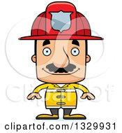 Clipart Of A Cartoon Happy Block Headed Hispanic Fire Man With A Mustache Royalty Free Vector Illustration by Cory Thoman