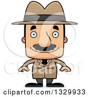 Clipart Of A Cartoon Happy Block Headed Hispanic Detective Man With A Mustache Royalty Free Vector Illustration