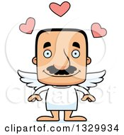 Clipart Of A Cartoon Happy Block Headed Hispanic Cupid Man With A Mustache Royalty Free Vector Illustration