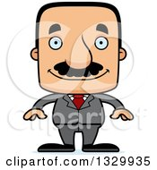 Clipart Of A Cartoon Happy Block Headed Hispanic Business Man With A Mustache Royalty Free Vector Illustration