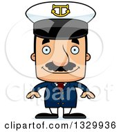 Clipart Of A Cartoon Happy Block Headed Hispanic Boat Captain Man With A Mustache Royalty Free Vector Illustration by Cory Thoman