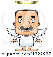 Clipart Of A Cartoon Happy Block Headed Hispanic Angel Man With A Mustache Royalty Free Vector Illustration