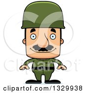 Clipart Of A Cartoon Happy Block Headed Hispanic Soldier Man With A Mustache Royalty Free Vector Illustration