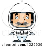 Clipart Of A Cartoon Happy Block Headed Hispanic Astronaut Man With A Mustache Royalty Free Vector Illustration