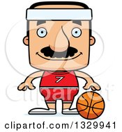Clipart Of A Cartoon Happy Block Headed Hispanic Basketball Player Man With A Mustache Royalty Free Vector Illustration by Cory Thoman