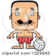 Clipart Of A Cartoon Happy Block Headed Hispanic Beach Volleyball Player Man With A Mustache Royalty Free Vector Illustration