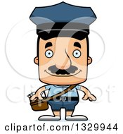 Clipart Of A Cartoon Happy Block Headed Hispanic Mail Man With A Mustache Royalty Free Vector Illustration