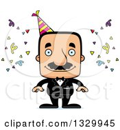 Clipart Of A Cartoon Happy Block Headed Hispanic Party Man With A Mustache Royalty Free Vector Illustration