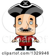 Clipart Of A Cartoon Happy Block Headed Hispanic Pirate Man With A Mustache Royalty Free Vector Illustration by Cory Thoman