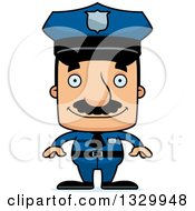 Clipart Of A Cartoon Happy Block Headed Hispanic Police Man With A Mustache Royalty Free Vector Illustration