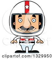 Clipart Of A Cartoon Happy Block Headed Hispanic Race Car Driver Man With A Mustache Royalty Free Vector Illustration by Cory Thoman