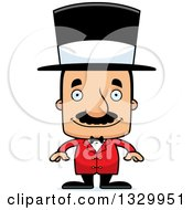 Clipart Of A Cartoon Happy Block Headed Hispanic Circus Ringmaster Man With A Mustache Royalty Free Vector Illustration by Cory Thoman