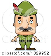 Clipart Of A Cartoon Happy Block Headed Hispanic Robin Hood Man With A Mustache Royalty Free Vector Illustration