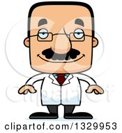 Clipart Of A Cartoon Happy Block Headed Hispanic Scientist Man With A Mustache Royalty Free Vector Illustration