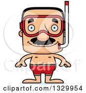 Clipart Of A Cartoon Happy Block Headed Hispanic Snorkel Man With A Mustache Royalty Free Vector Illustration
