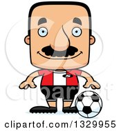 Clipart Of A Cartoon Happy Block Headed Hispanic Soccer Player Man With A Mustache Royalty Free Vector Illustration