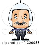 Clipart Of A Cartoon Happy Block Headed Futuristic Hispanic Space Man With A Mustache Royalty Free Vector Illustration by Cory Thoman