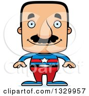 Clipart Of A Cartoon Happy Block Headed Hispanic Super Man With A Mustache Royalty Free Vector Illustration