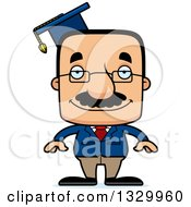 Clipart Of A Cartoon Happy Block Headed Hispanic Professor Man With A Mustache Royalty Free Vector Illustration by Cory Thoman