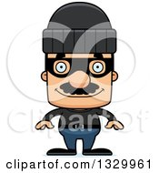 Clipart Of A Cartoon Happy Block Headed Hispanic Robber Man With A Mustache Royalty Free Vector Illustration by Cory Thoman