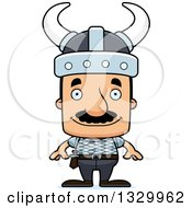 Clipart Of A Cartoon Happy Block Headed Hispanic Viking Man With A Mustache Royalty Free Vector Illustration by Cory Thoman