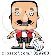 Clipart Of A Cartoon Happy Block Headed Hispanic Volleyball Player Man With A Mustache Royalty Free Vector Illustration by Cory Thoman