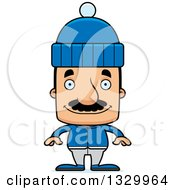 Clipart Of A Cartoon Happy Block Headed Hispanic Man With A Mustache In Winter Clothes Royalty Free Vector Illustration