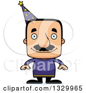 Clipart Of A Cartoon Happy Block Headed Hispanic Wizard Man With A Mustache Royalty Free Vector Illustration by Cory Thoman