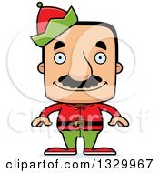 Clipart Of A Cartoon Happy Block Headed Hispanic Christmas Elf Man With A Mustache Royalty Free Vector Illustration by Cory Thoman