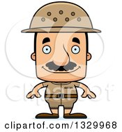 Clipart Of A Cartoon Happy Block Headed Hispanic Zookeeper Man With A Mustache Royalty Free Vector Illustration
