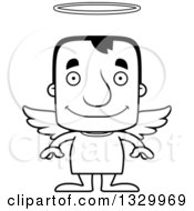 Lineart Clipart Of A Cartoon Black And White Happy Block Headed White Man Angel Royalty Free Outline Vector Illustration