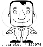 Lineart Clipart Of A Cartoon Black And White Happy Block Headed White Business Man Royalty Free Outline Vector Illustration