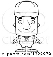 Lineart Clipart Of A Cartoon Black And White Happy Block Headed White Man Sports Coach Royalty Free Outline Vector Illustration