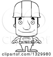 Cartoon Black And White Happy Block Headed White Man Construction Worker