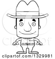 Lineart Clipart Of A Cartoon Black And White Happy Block Headed White Man Cowboy Royalty Free Outline Vector Illustration