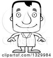 Cartoon Black And White Happy Block Headed White Man Doctor