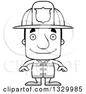 Lineart Clipart Of A Cartoon Black And White Happy Block Headed White Man Firefighter Royalty Free Outline Vector Illustration