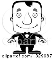 Lineart Clipart Of A Cartoon Black And White Happy Block Headed White Man Groom Royalty Free Outline Vector Illustration