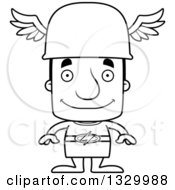 Lineart Clipart Of A Cartoon Black And White Happy Block Headed White Man Hermes Royalty Free Outline Vector Illustration