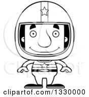 Lineart Clipart Of A Cartoon Black And White Happy Block Headed White Man Race Car Driver Royalty Free Outline Vector Illustration