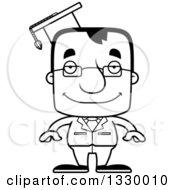 Cartoon Black And White Happy Block Headed White Man Professor