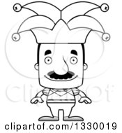 Lineart Clipart Of A Cartoon Black And White Happy Block Headed Hispanic Jester Man With A Mustache Royalty Free Outline Vector Illustration