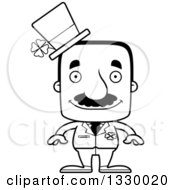 Lineart Clipart Of A Cartoon Black And White Happy Block Headed Hispanic St Patricks Day Man With A Mustache Royalty Free Outline Vector Illustration