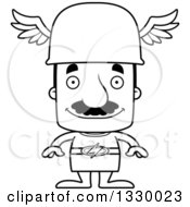 Lineart Clipart Of A Cartoon Black And White Happy Block Headed Hispanic Hermes Man With A Mustache Royalty Free Outline Vector Illustration
