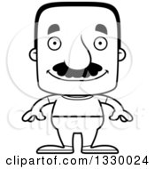 Lineart Clipart Of A Cartoon Black And White Happy Block Headed Casual Hispanic Man With A Mustache Royalty Free Outline Vector Illustration