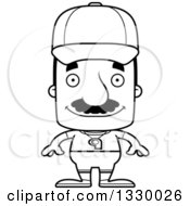Lineart Clipart Of A Cartoon Black And White Happy Block Headed Hispanic Sports Coach Man With A Mustache Royalty Free Outline Vector Illustration
