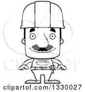 Cartoon Black And White Happy Block Headed Hispanic Construction Worker Man With A Mustache
